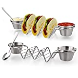 Upgrade Taco Shell Stand Up Holders- 2 Pack Premium Stainless Steel Taco Tray with 4 Salad Cups & 2 Spoons,Holds 3 Tacos Each Keeping Shells Upright & Neat