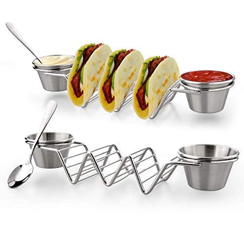 U-picks Taco Halter Edelstahl Taco Ständer mit 4 Saucenbecher & 2 löffel für Halten Tacos, Sandwiches, Brot, Hot Dogs und Pfannkuchen, Ideal für Kinder und Partys, 2 Stück