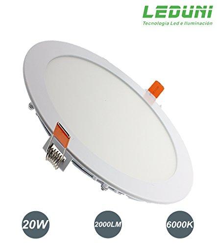 LEDUNI ® Downlight Panel LED Redondo 20W Circular 2000LM Color Blanco Frío 6000K Angulo 120 IP40 OPAL Aluminio 225 * 12Hmm Dimension de corte 205mm