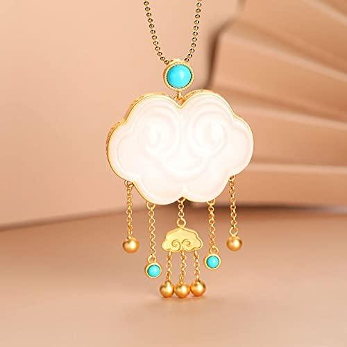 JIUXIAO Artesanía de Oro Antiguo con Incrustaciones de Cara Sonriente Natural Hetian Jade Collar Colgante Elegante joyería de Plata de Lujo