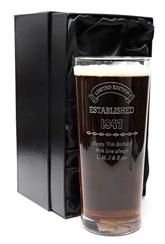 Engraved/Personalised *Established Birthday Design* New Pint Glass Gift Boxed (Silk Lined Gift Box)