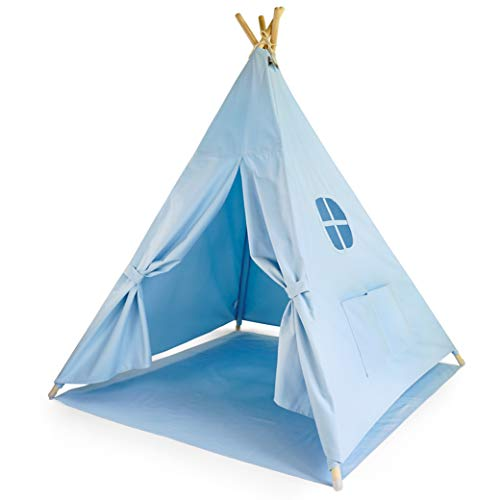 Moritz & Moritz Tipi Infantil - Tippy Tienda Infantil - Tipi para Niños - Tipi Indio para Niños con Cubierta de Suelo y Ventana - para Casa y Jardín (Azul)