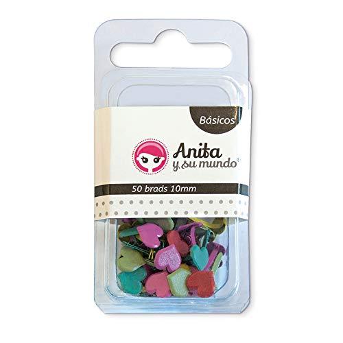 Anita y Su Mundo 37014199 - Pack 50 brads, diseño corazón, 10 mm