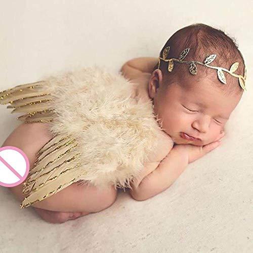 PZNSPY 2 stks/Set Baby Blad Haarband Veer Engel Vleugels Leuke Pasgeboren Fotografie Props Baby Kostuum Outfits Peuters Foto Shoot