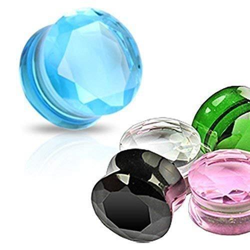 Coolbodyart plug de cristal facetado transparente, 6 mm, color verde, negro, rosa, turquesa - ningún metal, doble acampanado Stopfen, cristal, verde