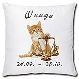 TRIOSK Kissen Katzenmotiv Sternzeichen Waage Dekokissen lustig mit Katze Geschenk für...