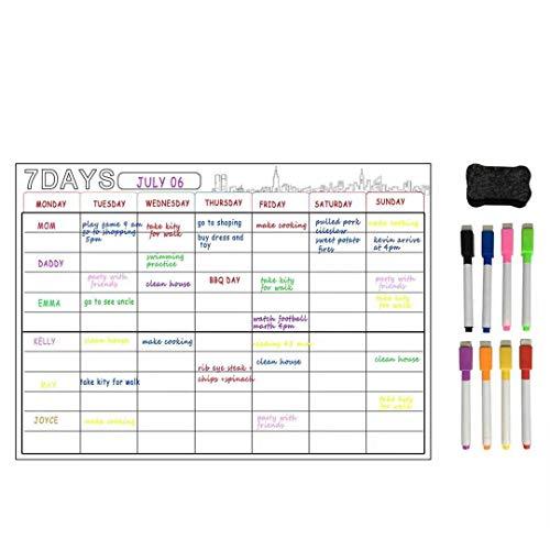 Calendario A3,planificador mensual, pizarra,nevera, pared o armario, sistema de montaje recordatorio,ideal como planificador familiar semanal, planificador de comidas,calendario,planificador de tareas