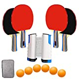 UniqueMax Ping Pong Paddle, Best 4 Pack Professional Table Tennis Racket Set, 6 Game Balls, Portable Table...