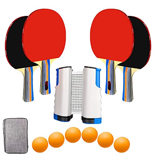 UniqueMax Offer Ping Pong Paddle, Best 4 Pack Professional Table Tennis Racket Set, 6 Game Balls, Portable Table Tennis Set with Retractable Table Tennis Nets, Ping Pong Paddles with Carry Case