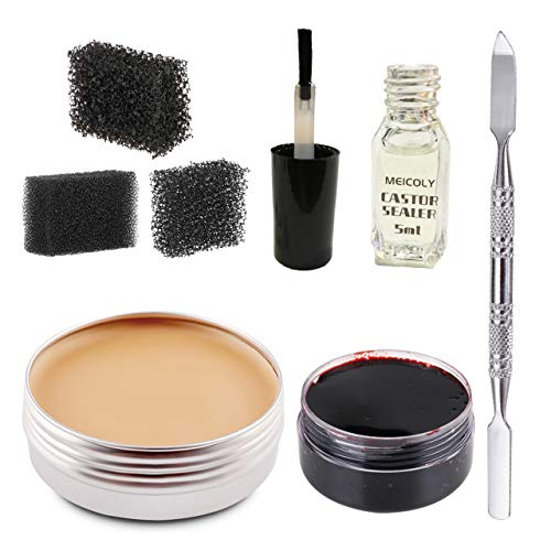 Meicoly Makeup Skin Wax Special Effects Halloween Set Stage Fake Wound Scar,Moulding Scars Wax with Spatula, Black Stipple Sponge,Coagulated Blood Gel,5ml Castor Sealer,02
