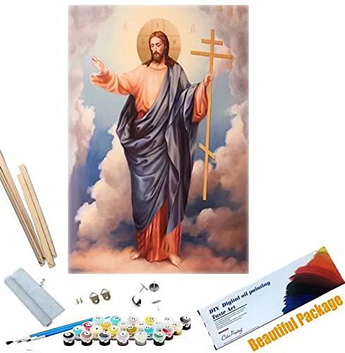 Beaxqb {Cornice Fai da Te} Dipingere con i Numeri Kit Cultura Religiosa DIY Acrilico Dipinto Kit per Adulti e Bambini con pennelli Decorazioni Decorazioni Regali 40x50cm