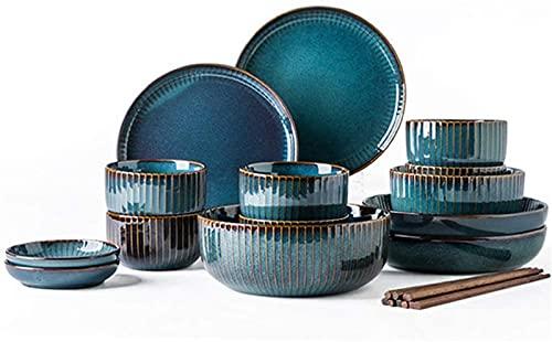 Mini Conjunto de vajillas finas, juego de vajillas de porcelana, placas de cerámica y conjuntos de tazones, creatividad moderna Vintage Lounge Redondo Reactivo Glaze Platos de gres de gres para cocina