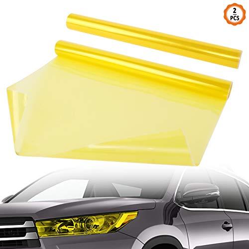 2 Stück Auto Licht Tönungsfolie, Scheinwerfer Folie Gelb Wasserdicht Auto Scheinwerfer Folie Tönungsfolie Nebelscheinwerfer Rückleuchten 30 x 120 cm