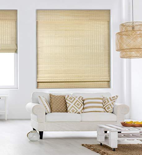 Calyx Interiors Cordless Seaside Natural Bamboo Roman Shades Blinds - Size: 45