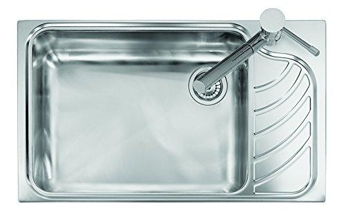 Fregadero de acero inoxidable satinado Platinum Vintage 8610 con cubeta individual y escurreplatos (escurreplatos a la derecha)