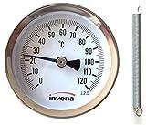 invena casa y industrial de clip tubería Termómetro Indicador de Temperatura Esfera con resorte 63mm 0-120