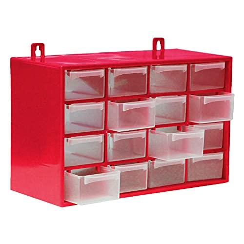 Acan BG Spazio - Clasificador Apilable con 16 Cajones Color Rojo