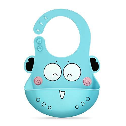 QFbp Baby Wasserdichtes Silikon Lätzchen,Faltbar Einstellbar Sanft Einfach Zu Säubern Wasserdicht Für Babymahlzeit Blau