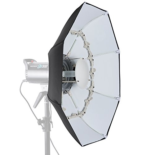 Neewer 27.5 inches/70 centimeters Folding Beauty Dish Octagonal with Center Deflector Disc, Removable Front Diffuser and Bowens Speed Ring for Monolight Studio Flash in Portrait and Event Photography