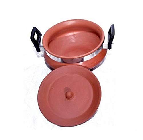 Organic Clay Crafts Clay Dahi Handi/Curd Pot with lid Medium Size...