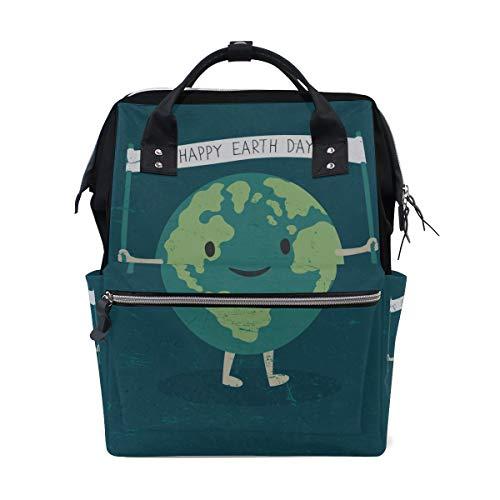 Umweltfreundliche Happy Earth Day Save Planet Große Kapazität Wickeltaschen Mama Rucksack Multi Funktionen Windel Wickeltasche Tote Handtasche Für Kinder Babypflege Reisen Täglich Frauen