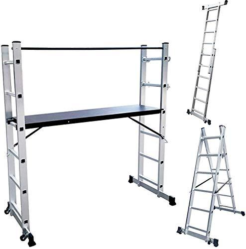 Aufun Alu Gerüst 3 in 1 Leitergerüst 2x6 Sprossen Baugerüst Leiter Stehleiter Klappleiter mit 1,47m Arbeitsplattform, 2 Rad, 2 Streben, Belastbarkeit bis 150KG, max Arbeitshöhe von 2,72m, Silber