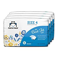 Four packs of thirty-six size 4 diapers for babies 22-37 lbs (10-17 kg) First-time users, consider getting the size your cub currently wears. If the fit is snug, size up (which provides extra absorbency). Soft, stretchy sides for a snug and secure fi...