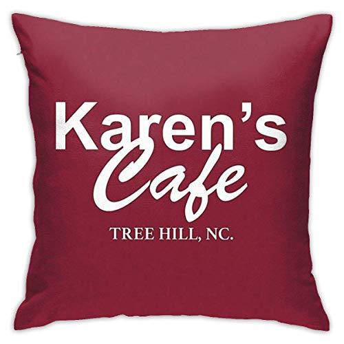 Karen'S Cafe Shirt †One Tree Hill Lucas Scott Cushion Throw Pillow Cover Decorative Pillow Case for Sofa Bedroom Kissenbezüge 24x24Inch(60cmx60cm)