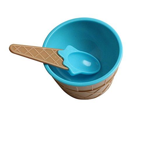 ZM1980s Eisbecher Plastik,Eisschalen,Eislöffel,Joghurtbecher,Becher,Niedlich Dessert Schalen Set,EIS Schalen Hoch,Snackschalen Set,Müslischüssel Set(Blau,1PC Schüssel+1PC Löffel)