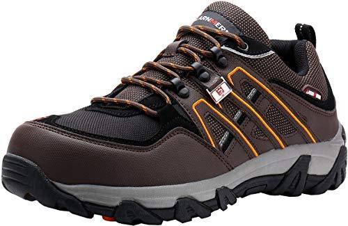 LARNMERN Sicherheitsschuhe Arbeitsschuhe Herren, Sicherheit Stahlkappe Stahlsohle Anti-Perforations Luftdurchlässige Schuhe, Braun L1032, 47 EU