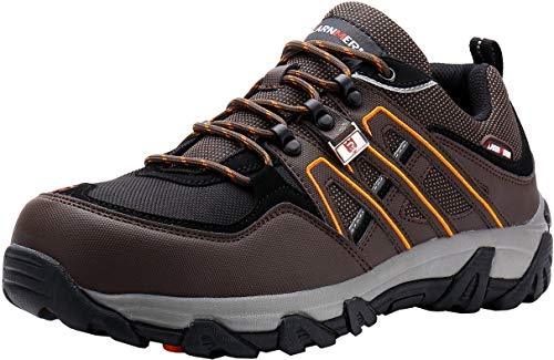 LARNMERN Sicherheitsschuhe Arbeitsschuhe Herren, Sicherheit Stahlkappe Stahlsohle Anti-Perforations Luftdurchlässige Schuhe, Braun L1032, 44 EU