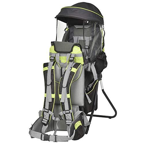 HOMCOM Zaino Porta Bimbo per Trekking, Pieghevole, Impermeabile e con Tettuccio Rimovibile 38x77x87.5cm, Verde