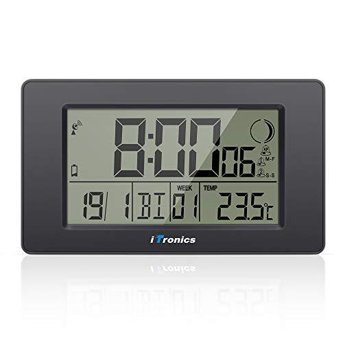 iTronics Horloge Radio-pilotée Numérique 7.5 Pouces avec Alarme Veille Grand Écran LCD Compte à Rebours Thermomètre Phase Lunaire, Piles Fournies