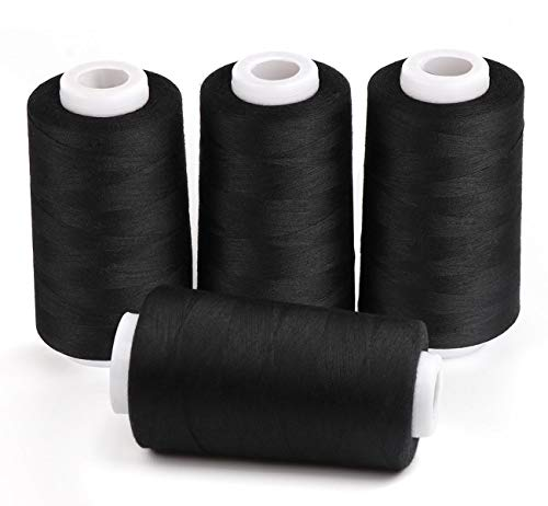 ilauke 4 x 3000 Yards Serger Thread Spools Black Polyester Sewing Threads Overlock Cone