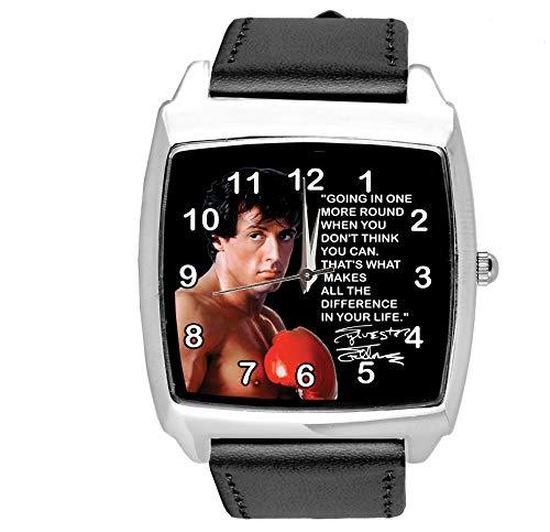 Reloj cuadrado de cuero negro para los fanáticos del boxeo