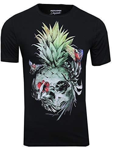 JACK & JONES Herren T-Shirt JORRaf Tee SS Crew Neck Skull Print, (tap Shoe,S)