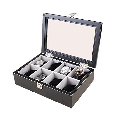 FGDSA Caja de Reloj de Madera, Soporte de exhibición/Juego de Caja/Caja de Almacenamiento para Relojes de joyería, Caja de exhibición de Reloj de 8 Rejillas con Tapa de Vidrio