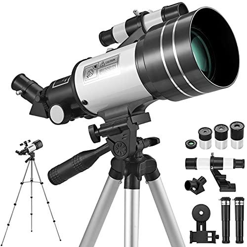 Telescopio Astronómico para Adultos Principantes Telescopio Astronómico Portátil 300/70mm HD con Trípode Ajustable Soporte para Teléfono Movil para Niños Estudiantes Observación de Universo