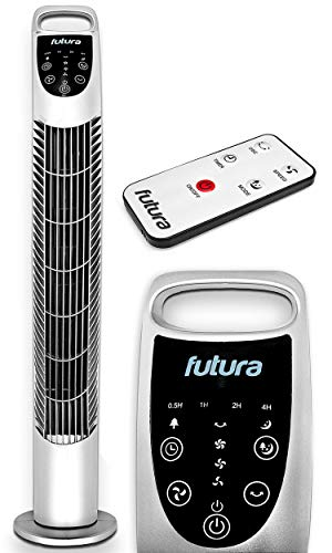 FUTURA Oscillating 31-inch Silver Tower Fan, Remote Control, 7.5 Hour Timer and 3 Cooling Fan Modes for Home and Office