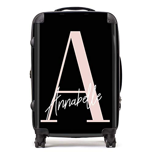 Personalised Black & Pink Initial Large Monogram Handwritten Custom Suitcase with TSA Lock 4 Spinner Wheels Luggage 68cm 80Ltr