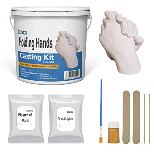 Holding Hands Casting 3D Kit for Adults/Children, Baby Hands Keepsake Memory kit with Alginate, Casting Powder, Mixing Bucket and Paints Couple Hand Casting by Glinco