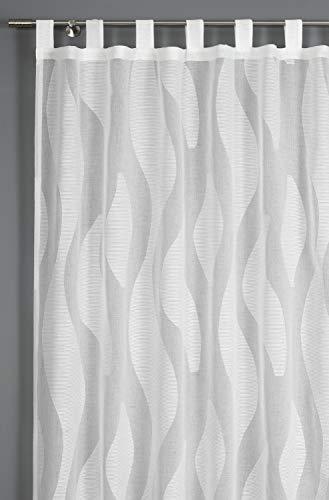 GARDINIA Vorhang mit angenähten Schlaufen, Transparenter Schlaufenschal, Scherli, Natur, 140 x 245 cm