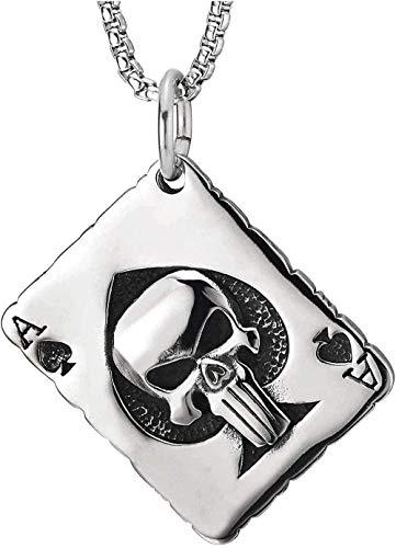 DUEJJH Co.,ltd Collar Ace Poker Collar con Colgante Collar con Encanto de Calavera Personalidad Clásico Retro Moderno Collar Popular