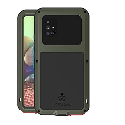 LOVE MEI for Sumsung Galaxy A71 5G Case, Hybrid Aluminum Metal Military Heavy Duty 360 Degree Full Body Protective Shockproof Dustproof Cover Case with Tempered Glass Screen Protector (Green)