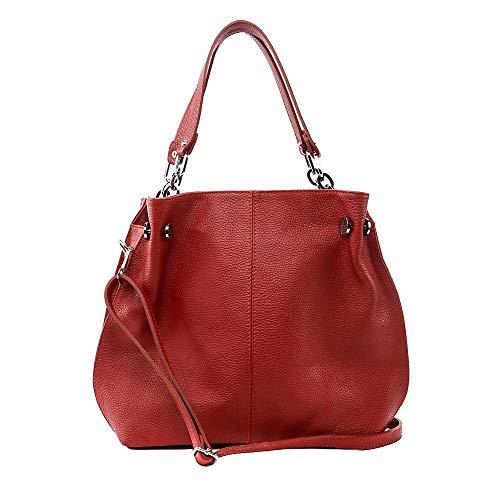 CUIR DESTOCK Sac porté épaule Femme porté épaule bandoulière de travers et main en véritable cuir fabriqué en Italie Rouge clair