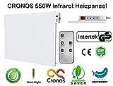 ORIGINAL CRONOS Heizpaneel IR Infrarot 550W Heizung mit Thermostat und Fernbedienung - Deutscher Hersteller - Herstellergarantie - GS Prüfsiegel - Überprüft durch deutsches Prüfinstitut Intertek