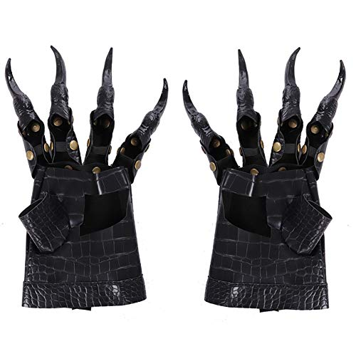Halloween Scary Dragon Claw Gloves Adults Black Gloves Attached with Claws Party Props Accessories Cosplay Fancy Dress UP Costume Horror Props