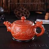 370ml Tetera de cerámica Mano Longfeng Premio Arcilla púrpura del té del tamiz del té era la Caldera Kung,Red
