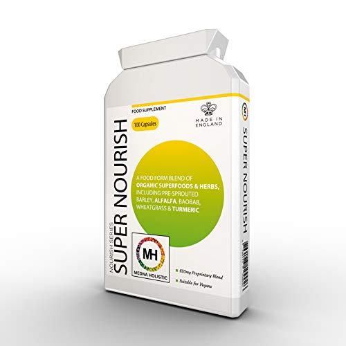 Medna Holistic Super Nourish met biologisch fruit, groenten en kruiden   100 capsules   Geschikt voor veganisten en vegetariërs, zuivelvrij   Wreedsvrij - Niet getest op dieren   UK Made