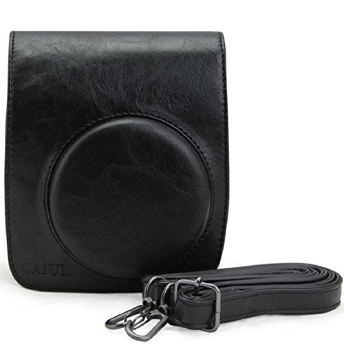 Vovotrade® Cassa del sacchetto di cuoio della macchina fotografica Supporto per Fuji Instax Mini90 FUJIFILM (Nero)